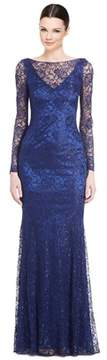 Theia Metallic Lace Long Sleeve Gown.