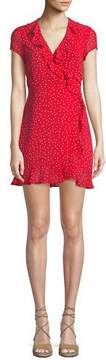 Bardot Open-Back Dot-Print Ruffle Mini Dress