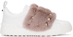 Valentino White and Pink Garavani Fur Laceless Rockstud Sneakers