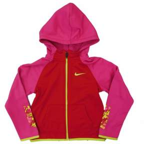 Nike Therma Little Girls Red & Pink Dri-Fit Hoodie Zip Front Sweatshirt 5