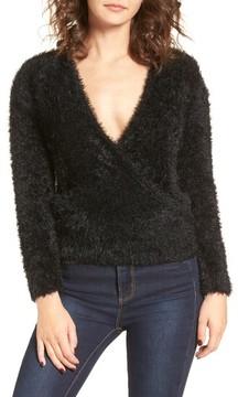 WAYF Women's Fuzzy Surplice Sweater
