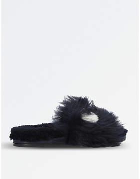 Anya Hindmarch Eyes shearling slide sandals
