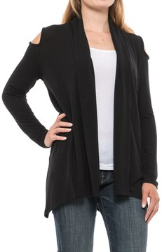 August Silk Cold Shoulder Open-Front Cardigan Sweater (For Women)