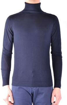 Hosio Men's Blue Wool Sweater.