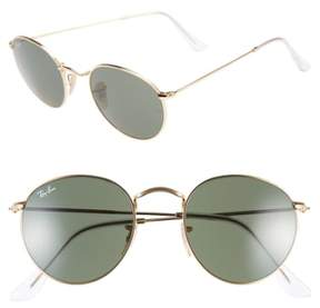 Ray-Ban Women's Icons 50Mm Round Metal Sunglasses - Gold/ Green