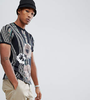 Reclaimed Vintage Inspired Patterned Party T-Shirt With Floral Geo Print