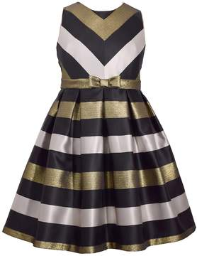 Bonnie Jean Girls 7-16 & Plus Size Metallic Chevron Striped Taffeta Dress