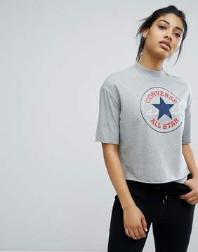 Converse High Neck Cropped T-Shirt In Gray