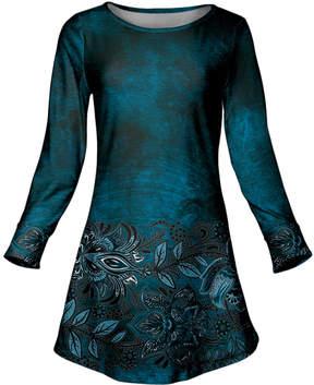 Azalea Blue & Black Floral Scoop Neck Tunic - Plus
