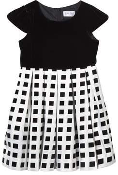 Rachel Riley Black Velvet and Square Pattern Dress
