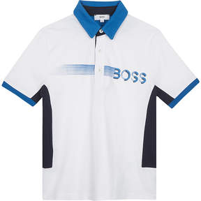 BOSS Smudge logo cotton polo shirt 4-16 years