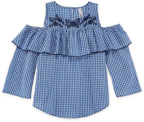 Beautees Embroidered Cold Shoulder Ruffle Button Up Top - Girls' 7-16