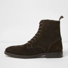 River Island Mens Dark brown suede lace-up boots