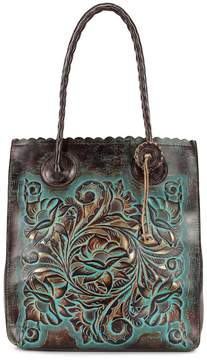 Patricia Nash Tooled Turquoise Collection Cavo Floral-Embossed Scalloped Tote