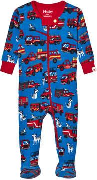 Hatley Blue Fire Truck Print Babygrow