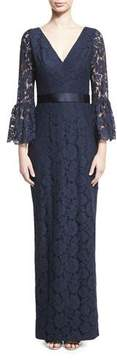Theia Bell-Sleeve Floral Lace Column Gown, Navy