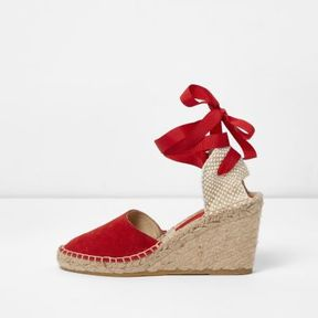 River Island Womens Red suede ankle tie espadrille wedges