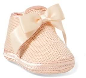Ralph Lauren Addison Knit Slipper With Bow Light Pink Knit 0 (0-6 Wks)