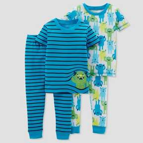Carter's Just One You made by carter Baby Boys' 4pc Cotton Monster Stripe Pajama Set - Just One You Made by Teal