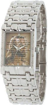 JCPenney FINE JEWELRY Personalized Mens Diamond-Accent Silver-Tone The Lords Prayer Watch