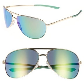 Smith Women's Serpico 2 65Mm Mirrored Chromapop(TM) Polarized Aviator Sunglasses - Gold/ Green Mirror