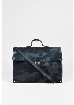 Valentino Pre-owned Black Leather Canvas rockstud Camo Briefcase Bag.
