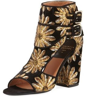 Laurence Dacade Rush Metallic-Embroidered Velvet Open-Toe Bootie