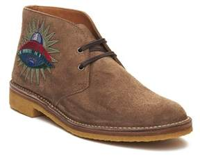 Gucci Men's Suede Embroidered Boot Shoes Brown.