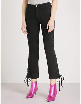 Mo&Co. Laced skinny cropped high-rise jeans