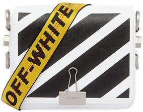 Stripes Binder Clip Leather Shoulder Bag