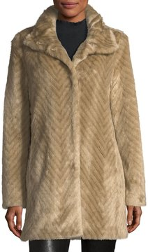 Ellen Tracy Faux-Mink Chevron Jacket