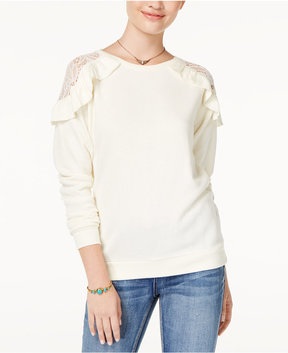 Self Esteem Juniors' Ruffled Lace-Trim Cold-Shoulder Sweatshirt