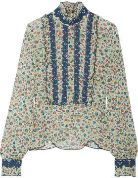 Anna Sui Ruffle-trimmed Embroidered Printed Silk-georgette Blouse - Green