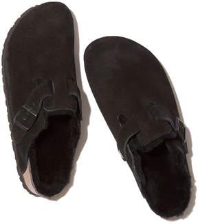 Birkenstock Boston Shearling-Lined in Black/Black Suede, Size IT 36