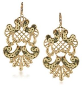 ABS by Allen Schwartz Somewhere To Be Sequined Goldtone Drop Earrings