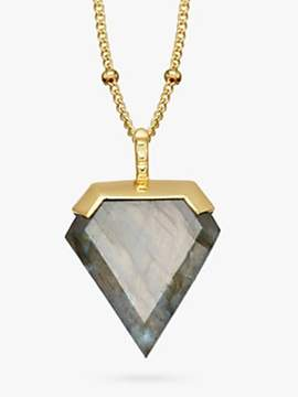 Missoma 18ct Gold Vermeil Shield Pendant Necklace, Labradorite
