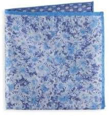 Saks Fifth Avenue Floral and Dot Silk Pocket Square