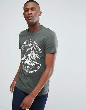 Esprit T-Shirt In Green With Adventure Print