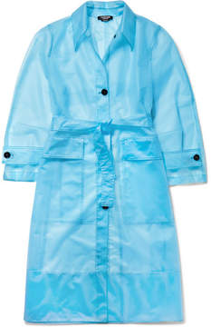 Calvin Klein Oversized Matte-pu Trench Coat - Blue