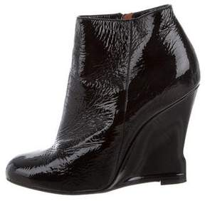 Lanvin Patent Leather Wedge Ankle Boots