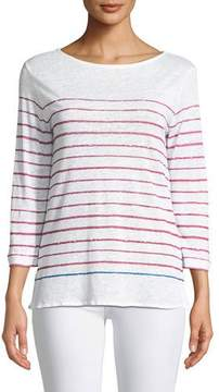 Neiman Marcus Majestic Paris for Two-Tone Striped Linen Top