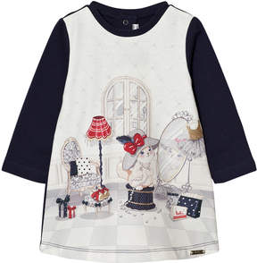 Mayoral Navy Dressing up Cat Print Dress