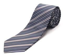 Luciano Barbera Men's Slim Silk Neck Tie Navy Brown.