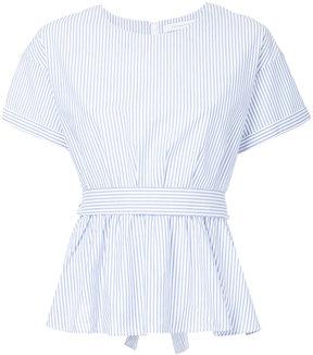 ESTNATION striped and gathered peplum shirt