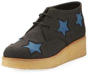 Stella McCartney Wendy Star-Patched Denim Platform Sneaker