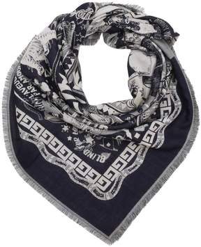 Gucci Scarf 110 X 110 Cm Wool And Silk Scarf With Multi-pattern And'love' Writing