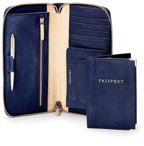 Aspinal of London Zipped Travel Wallet With Passport Cover In Midnight Blue Lizard Cream Suede