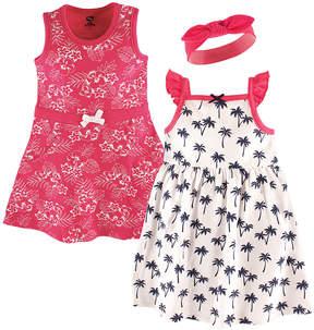 Hudson Baby Pink & White Tropical Dress & Headband Set - Infant