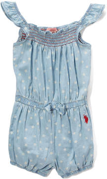 U.S. Polo Assn. Light Wash Star Angel-Sleeve Romper - Toddler