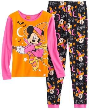 Disney Disney's Minnie Mouse Halloween Witch Girls 4-8 Top & Bottoms Pajama Set